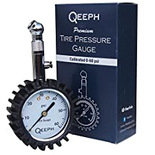 Tire Pressure Gauge by QEEPH – Measures up to 60 PSI – Large 2″ Dial for Readability- Steel Construction with Rubber Protection – Protects Tires & Saves Fuel- For Cars, Motorcycles & Utility Vehicles