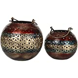 Gift Articles Iron Tea Light Candle Holder Bowl - Set Of 2 (18 Cms X 18 Cms X 15 Cms, Multi-Coloured)