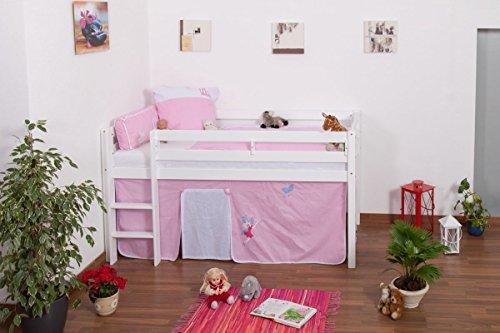 Lit pour enfant / Lit en mezzanine Andi en hêtre massif peint en blanc, sommier à lattes déroulable inclus - 90 x 200 cm