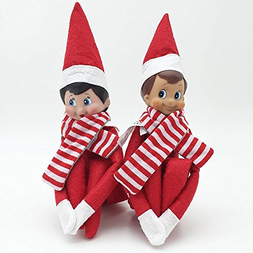 Christmas Elf On The Shelf Smiley Dolls Figure Novelty Gift Elf Doll (Red Girl and Boy) for Xmas