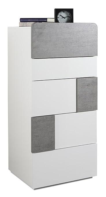 Cassettiera con cinque cassetti laccato bianco lucido e color cemento