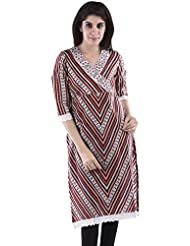 AARR V-Neck Casual 3/4 Sleeve Cotton Straight Kurta