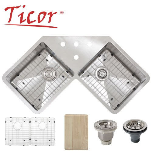 Undermount Corner Kitchen Sinks Stainless Steel : Ticor Corner Undermount 16-gauge Stainless Steel Square Kitchen Sink ...