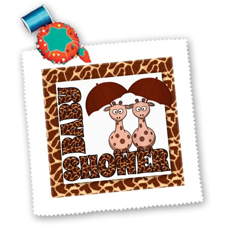 Qs_173040_5 Doreen Erhardt Baby Designs - Twins Gender Neutral Giraffe Jungle Baby Shower Theme - Quilt Squares - 14X14 Inch Quilt Square front-239285