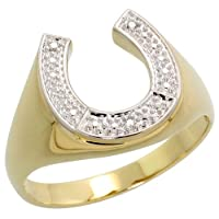 10K Gold Horse Shoe Men's Ring, w/ Brilliant Cut Diamonds, 9/16 in. (14mm) wide, size 8.5