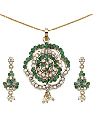 14.30 Grams Green Cubic Zirconia, White Cubic Zirconia & White Synthetic Pearl Gold Plated Brass Pendant Set