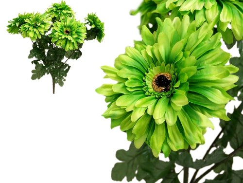 28 Lime GREEN Silk Gerbera Daisy FLOWERS Bush Bouquets