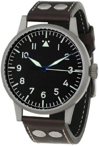 Laco 1925 Men's Mechanical Watch with Black Dial Analogue Display and Brown Leather Strap 861750
