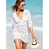 MG Collection Fashion Floral White Lace V-Neck Beach Swimsuit Cover Up