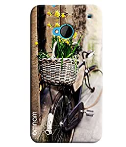 Omnam Basket Of Flower Lying On Back Of Bicycle Printed Designer Back Cover Case For HTC One M7