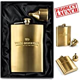 NEW! Exclusive 8 oz Gold Hip Flask and Funnel. Luxury Gift Box Set. Fancy Engraved Logo. 100% Leak-proof Top-Grade Stainless Steel Metal. Best Liquor Gift Idea for Men, Him - Husband, Brother, Friend