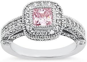 Princess halo pink diamond 321 carats anniversary ring white gold 14K new