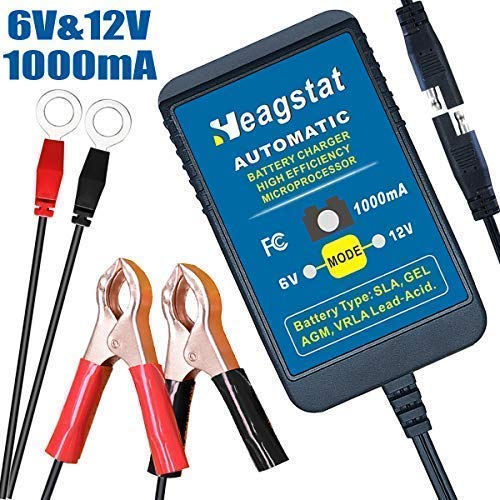 Heagstat Trickle Battery Charger 6V 12V 1000mA Automatic Smart Battery Maintainer for Auto Car Motorcycle Lawn Mower Boat ATV SLA AGM GEL CELL Lead Ac