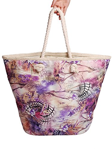 Mike & Mary Printed Floral Shoulder Shopping Carrier Bag for Ladies and Women's Casual Straw Edge Portable Fashionable Beach Tote Holiday Storage Handbag(purple) (2 Gallon Vac compare prices)