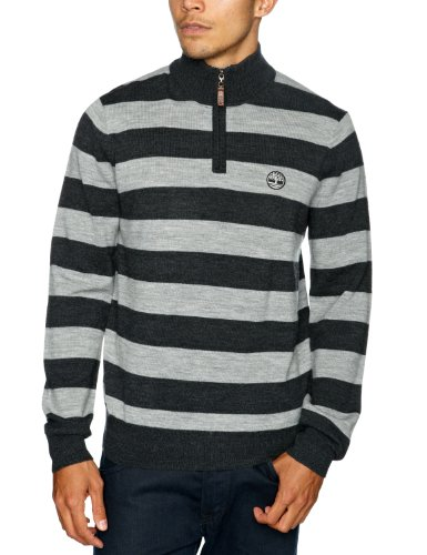 Timberland Merino Stripe Half Zipped Men's Jumper Medium Grey Heather Medium