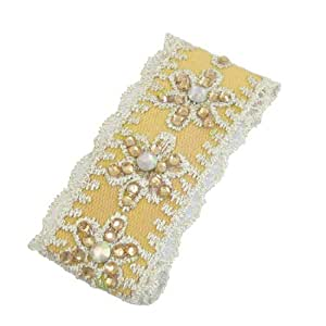 Rosallini Lace Thread Flower Inlay Rhinestone Accent Ladies Yellow Metal Hairclip