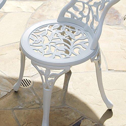 Belleze Outdoor Patio Furniture Leaf Design Bistro Set in Antique White 4