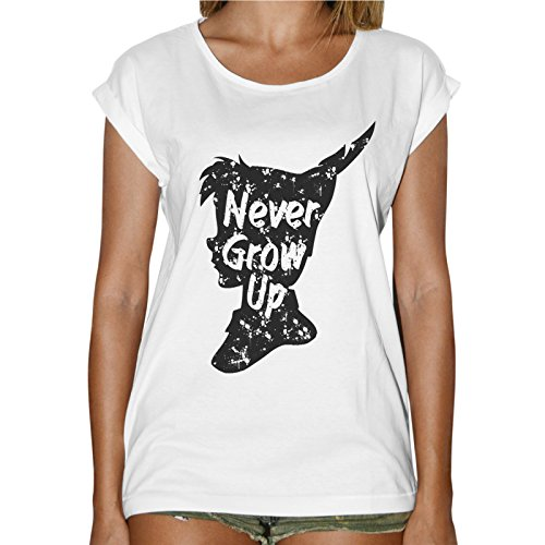 T-Shirt Donna Fashion Mai Crescere - Never Grow Up Peter Pan - Bianco