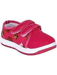 MYAU Kid's Girls Boys Pink Flower Printed Double Closure Casual Sneakers