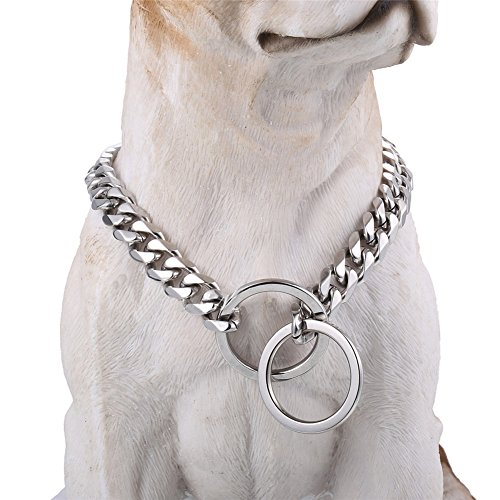"Fancy Metal Slip Chain 22"" 12MM Dog Choke Collar - Cool + Best for Large Dogs: Pitbull, Doberman, Bulldog, Rottweiler & more!"