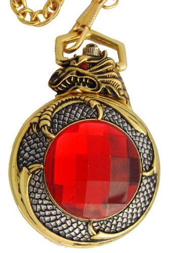 Dragon Wind up Pocket Watch.Gorgeous Gold Tone Case with Huge Garnet Colored Center Piece.classic Size Pocket Watch of 2 Inches Gold Tone Chain Included.