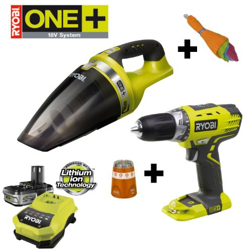RYOBI 18V ONE+ Akku Handsauger CHV182M, inkl. 5 Mikrofasert&#252;chern, im Set mit Akku-Bohrschrauber RCD1802M, AEG-Bitbox und 1,4Ah Li-Ion-Starterset BLK18151