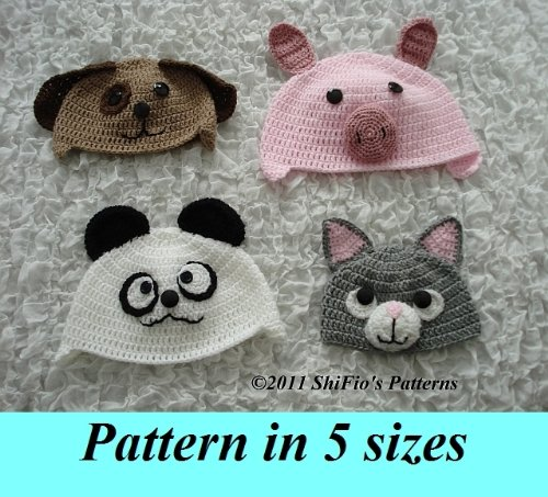 Baby Animal Hats 2 Crochet Pattern 175 USA