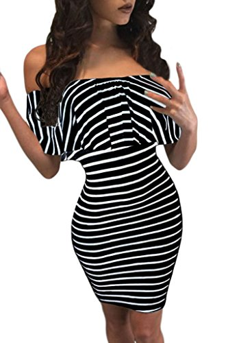 Chase Secret Womens Off Shoulder Striped Club Party Night Dress Medium Black (Night Clubs compare prices)