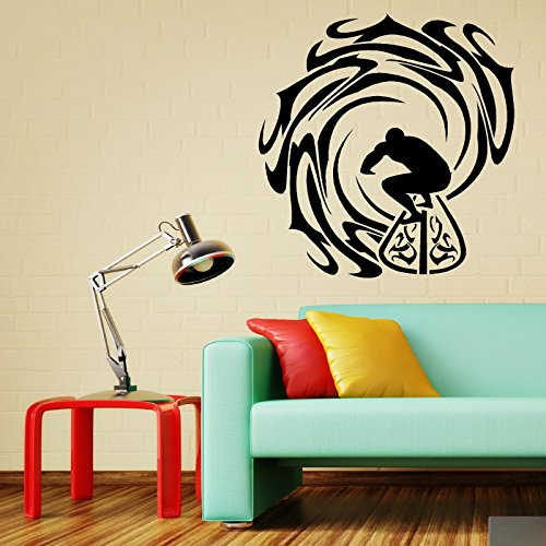 SURFER AND WAVES vinyl wall art sticker decal Surfing Sea Sport Ocean WAVES