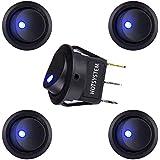 HOTSYSTEM 5PC New 20A 12V Round Rocker Toggle Switch Blue LED SPST For All