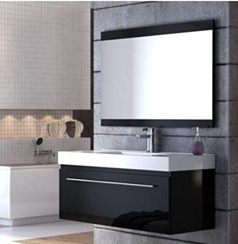 Badmöbelanlage Decora, schwarz, 120 cm mit Waschbecken, Unterschrank, Spiegel und Beleuchtung, 0400-