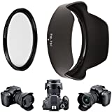 EW-73C Lens Hood + 67mm UV Filter Multicoated Glass for Canon EF-S 10-18mm f/4.5-5.6 IS STM Lens - 10-18 Canon Replacement EW73C Secure Bayonet Lens Hood