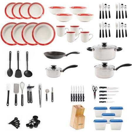 Large Kitchen Combo Set. This 83 piece kitshen starter set has everything you need. Stainless steel cookware, dinnerware, flatware, storage containers and gadgets for stirring, flipping and chopping. (Kitchen Starter compare prices)