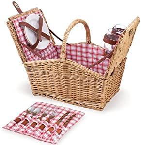 Piccadilly Willow Picnic Basket 145hx115w Red White Plaid from Home Decorators Collection