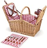 Picnic Time Willow Piccadilly Picnic Basket with Service for Two, Red/White Plaid