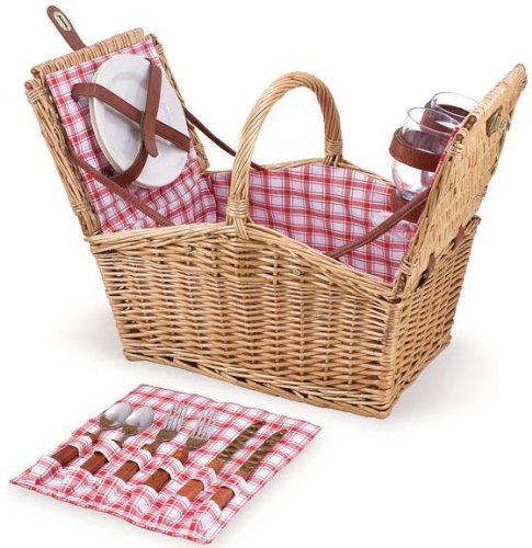 "Buy Bargain Piccadilly Willow Picnic Basket, 14.5""Hx11.5""W, RED WHITE PLAID"