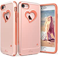 iPhone 7 Case Vena Dual Layer Protection Hybrid Bumper Cover (Rose Gold / Coral Pink)