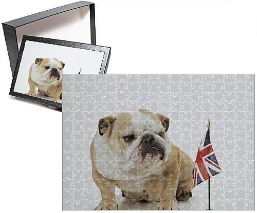 Photo Jigsaw Puzzle of DOG - Bulldog with British Union Jack flag (British Flag Puzzle compare prices)