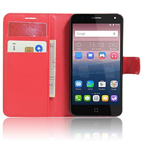 iBetter Alcatel POP 4 Cover Caso PU Portafoglio Protettiva Custodia in pelle per Alcatel POP 4 Smartphone, Rosso