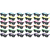 Edge I-Wear 36 Pack 80's High Quality Neon Wayfarer Sunglasses with 100% UVA/UVB Protection 5402R-SET-36 (Made in Taiwan)