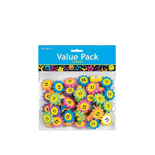 Mini Smile Face Daisy Erasers (48 ct) (48 per package)