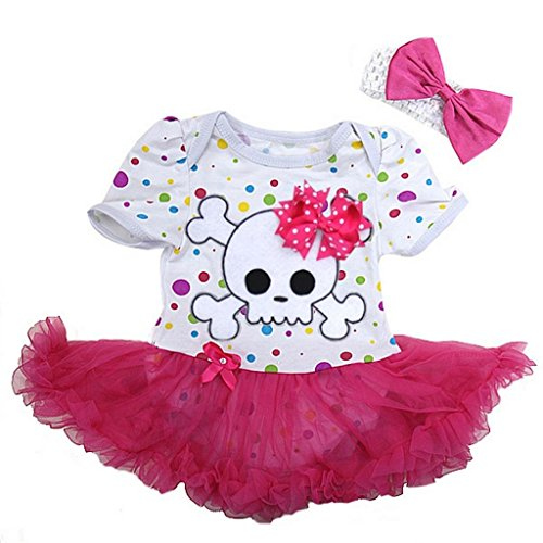 Baby Polka Dots Skull Pirate Costume Bodysuit Tutu Large Colorful Pink