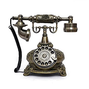 LNC Retro Vintage Antique Style Rotary Dial Desk Telephone Phone Home Living Room Decor