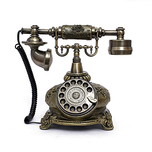 LNC Retro Vintage Antique Style Rotary Dial Desk Telephone Phone Home Living Room Decor 0