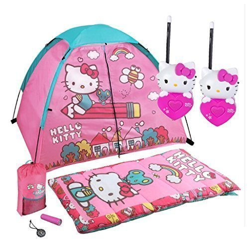 Hello-Kitty-7-Piece-Indoor-Outdoor-Play-Camp-Kit-Tent-Sleeping-Bag-with-Storage-Sling-Pack-Set-of-Long-Range-Walkie-Talkies-Flash-Light-and-Compass
