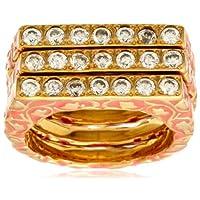 [アイシャーヤ] Isharya coral florentine stackable enamel ring (set of 3): white cz, coral enamel, 18k gold plated R1067...