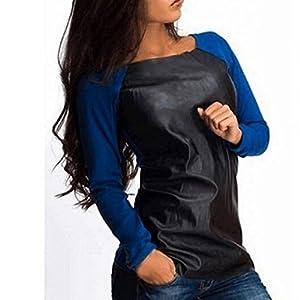 TAORE Women Long Sleeve O-Neck Leather Splice Clubwear Tee Tops Shirt Blouse (L, Blue)