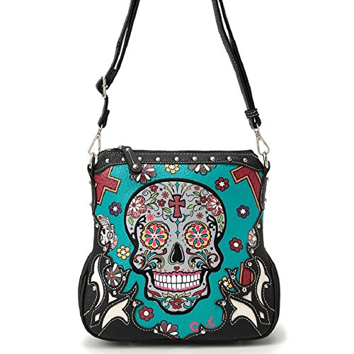 Sugar Skull Messenger Sling Bag Day of the Dead Purse with Concealed Carry Pocket, Teal (Cool Skull Stuff compare prices)