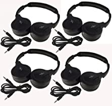 "buy Four Pack Of Two Channel Fold Flat Adjustable Child-Adult Size Universal Rear Entertainment System Infrared Headphones With Four Additional 48"" 3.5Mm Auxiliary Cords Wireless Ir Dvd Player Head Phones For In Car Tv Video Audio Listening"