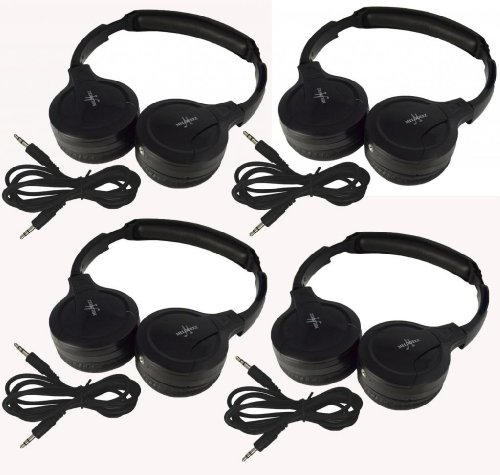 "Four Pack Of Two Channel Fold Flat Adjustable Child-Adult Size Universal Rear Entertainment System Infrared Headphones With Four Additional 48"" 3.5Mm Auxiliary Cords Wireless Ir Dvd Player Head Phones For In Car Tv Video Audio Listening"